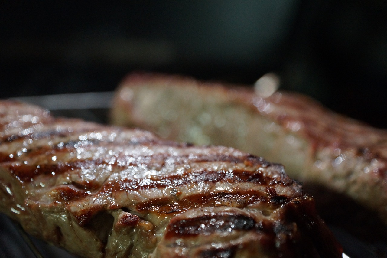 steak on a small grill